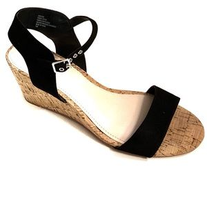 Torrid Black Strappy Jute Wedge Sandals 11 M
